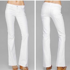 7 For All Mankind A Pocket Flare Leg White Jeans